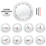 Custom world clock time - EDITABLE VECTOR EDITION Stock Photos