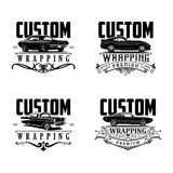 Custom wrapping logo vector. Logocar Custom wrapping logo vector and classic car logo with ribbon premium Stock Photos