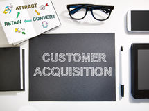 Customer Acquisition concept with black and white workstation Stock Photo