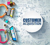 Customer Acquisition concept with Doodle design style:people int. Eview, shop testing, clear selection. Modern style illustration for web banners, brochure and Royalty Free Stock Image