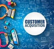 Customer Acquisition concept with Doodle design style:people int. Eview, shop testing, clear selection. Modern style illustration for web banners, brochure and Royalty Free Stock Photos