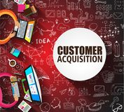 Customer Acquisition concept with Doodle design style. People inteview, shop testing, clear selection Royalty Free Stock Photography