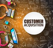 Customer Acquisition concept with Doodle design style, people in Stock Photos