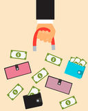Customer acquisition. Hand with a magnet and a purse with money. Vector illustration Stock Images
