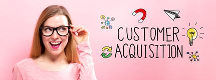 Customer Acquisition with happy young woman. Holding her glasses royalty free stock images
