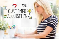 Customer Acquisition with happy young woman in front of the computer. Customer Acquisition with happy young woman sitting at her desk in front of the computer royalty free stock photo