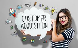 Customer Acquisition text with woman holding a speech bubble. Customer Acquisition text with young woman holding a speech bubble stock photos