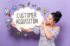 Customer Acquisition with woman holding a speech bubble. Customer Acquisition with young woman holding a speech bubble royalty free stock photography