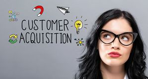Customer Acquisition with young businesswoman. In a thoughtful face royalty free stock photography