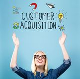 Customer Acquisition with young woman. Reaching and looking upwards stock image