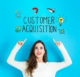Customer Acquisition with young woman looking upwards. Customer Acquisition with young woman reaching and looking upwards royalty free stock images