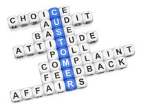 Customer affairs. Crossword on white background 3d render Royalty Free Stock Photos