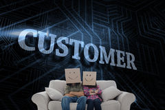 Customer against futuristic black and blue background Royalty Free Stock Photo