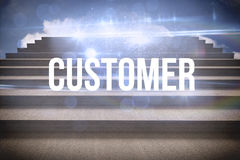 Customer against steps against blue sky Royalty Free Stock Images