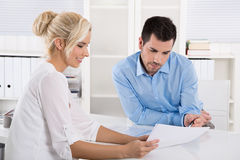 Customer And Client Sitting At Desk Or Business People Talking A