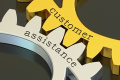Customer Assistance concept on the gearwheels, 3D rendering. Customer Assistance concept on the gearwheels, 3D Stock Photos