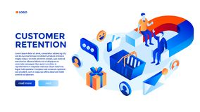Customer attraction concept background, isometric style. Customer attraction concept background. Isometric illustration of customer attraction vector concept royalty free illustration
