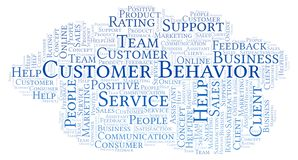 Customer Behavior word cloud. Made with text only royalty free illustration