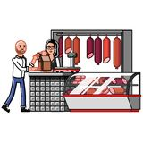 Customer buy something in meat store Stock Image