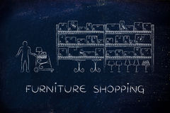 Customer buying furniture, furniture shopping Royalty Free Stock Photo