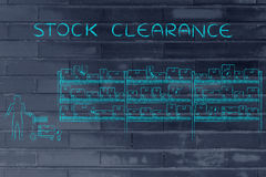 Customer buying products, stock clearance Stock Photography
