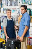Customer Buying Tool Case In Hardware Store Royalty Free Stock Photo