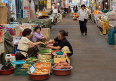 Customer buying vegetables in Dongmun Market. royalty free stock photography