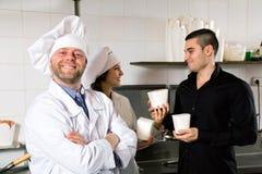 Customer buys fastfood Stock Photo