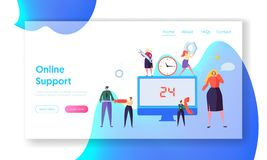 Customer Call Service Online Support Landing Page. Technical Hotline Chat Help Center Assistant Technician Character stock illustration