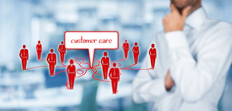 Customer care. Concept. Manager think about  and relationships with customers stock images