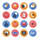 Customer care contacts flat icons set Stock Photo
