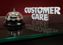 Customer Care 3d Words Bell Lobby Desk Help Assistance. Customer Care words in white 3d letters on a hotel desk or service counter for help or assistance Stock Photo