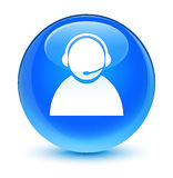 Customer care icon glassy cyan blue round button Stock Photography