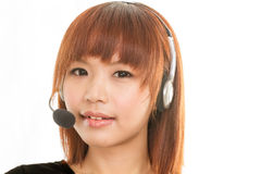 Customer care operator with headset microphone Stock Photos