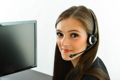 Customer Care. Representative helping customers Stock Photo