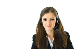 Customer Care. Representative looking straight royalty free stock photo