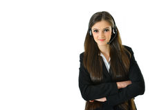 Customer Care. Representative standing with arms crossed Royalty Free Stock Images