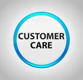 Customer Care Round Blue Push Button vector illustration