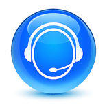 Customer care service icon glassy cyan blue round button Royalty Free Stock Photo