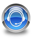 Customer care service icon glossy blue round button Royalty Free Stock Photography
