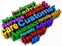 Customer care support. Words collage in vivid colors on white surface, customer help, care and support concept Royalty Free Stock Images