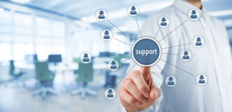Customer care support. And client service concept. Businessman click on virtual scheme representing helping customer support. Wide banner composition with Royalty Free Stock Photos