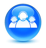 Customer care team icon glassy cyan blue round button Royalty Free Stock Photography
