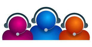 Customer care team on white. Background - vector illustration Stock Photo
