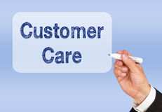 Customer care. Text graphic on white sign with hand holding a marker stock photography