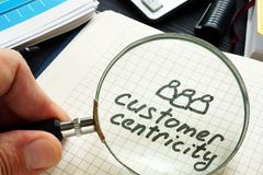 Customer centricity handwritten in a note pad. Customer centricity handwritten in the note pad stock photography