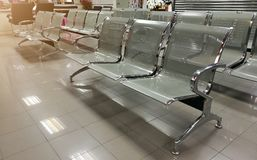 Customer chairs waiting for the bank employees in Thailand, queue for each person royalty free stock photo