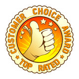 Customer choice award emblem. Customer choice award emblem with hand thumbs up Stock Images