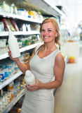 customer choosing milk Stock Image