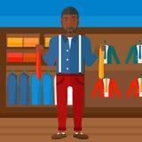 Customer choosing neckties. Royalty Free Stock Image